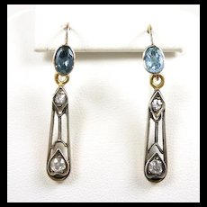 Serene Victorian Drop Diamonds and Aqua Earrings c. 1860