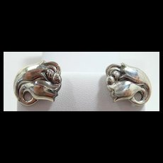 Classy Georg Jensen Double Tulip Earrings Model #100 c. post 1945
