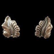 "Sleek Mid Century ""N E From"" Leaf Style Sterling Earrings c. 1950"