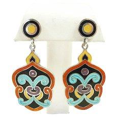 Alluring Arabesque Margot de Taxco Sterling Enamel Earrings #5531 c. 1955