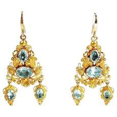 Gentile Georgian Cannetille Foiled Aquamarine Earrings c. 1820