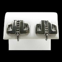 Perfect Margot de Taxco Earrings Deco Pre-Columbian #5285 c. 1955