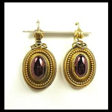 Enticing Etruscan Revival Victorian Garnet Earrings c. 1870