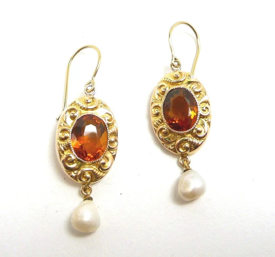 fdf301713ee99 Curvy Colorful Art Nouveau Citrine Earrings c. 1890. Click to expand.  Caroline's Jewelry with a Past ...