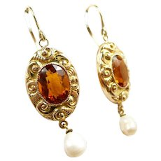 36d58c01aecc8 Curvy Colorful Art Nouveau Citrine Earrings c. 1890. Caroline's Jewelry  with a Past