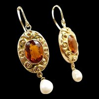 Curvy Colorful Art Nouveau Citrine Earrings c. 1890