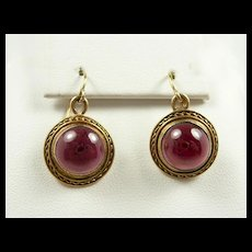 Endearing Etruscan Revival Garnet Earrings c. 1870