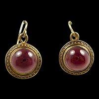 Endearing Etruscan Revival Gold Garnet Earrings c. 1870