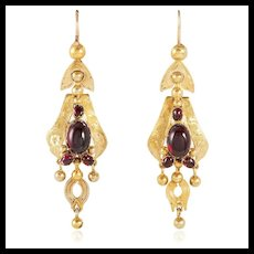 Romantic Victorian 1850's Garnet Dangle Earrings