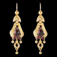 Romantic Victorian 1850's Garnet Dangle Earrings