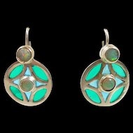 Handcrafted Plique a Jour and Opal Sterling Earrings
