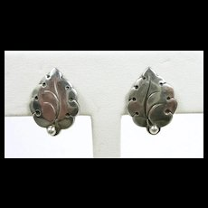 Cool N. E. From Mid Century Leaf Earrings c. 1950