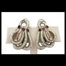 Gorgeous Margot de Taxco Gathered Swirls Earring #5651 c. 1955