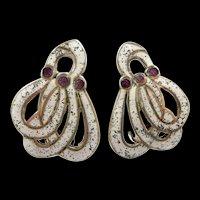 Gorgeous Margot de Taxco Gathered Swirls Earring #5651 c. 1955