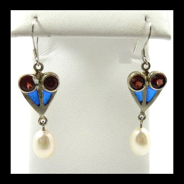 Artisan Hand Crafted Patriotic Plique a Jour Earrings