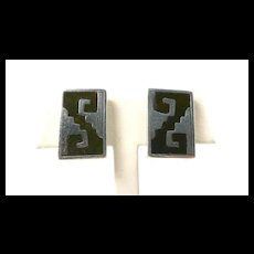 Luxurious Los Castillo Onix Negro Aztec Earrings c. 1955
