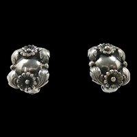 Nifty Niels Eric From Denmark Flower Earrings c. 1950