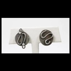 Playful Paul Miller MCM Abstract Handmade Earrings c. 1955