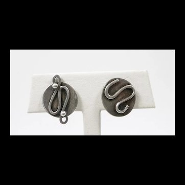 Playful Paul Miller MCM Abstract Handmade Earrings c. 1955