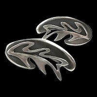 Lovely Ledesma Abstract Leaf Earrings c. 1960