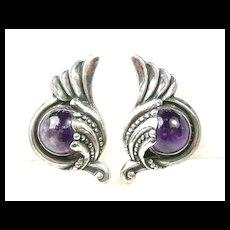Swirling Margot de Taxco Earrings #5240 c. 1955