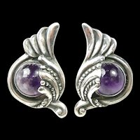 Swirling Margot de Taxco Earrings #5240 c. 1955