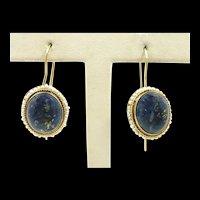 Lovely Victorian Lapis Pearl Earrings c. 1880