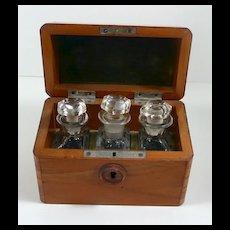 Amazing Antique Gold Rush Field Test Kit Original Box with Handblown Bottles c. 1860