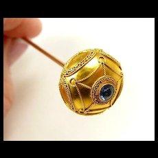 Scrumptious Art Nouveau Gold Sapphire Long Hat Pin c. 1890