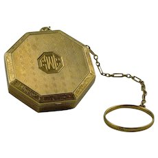 Amazing Edwardian Gold Necessaire Compact / Locket with Hand Engraving c. 1915