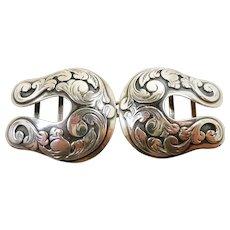 Cool Carved Vintage Sterling Double Horseshoe Belt Buckle