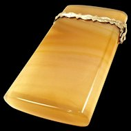 Fantastic Faberge Style Agate and Silver Card Case c. 1870