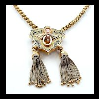 Fashionable Victorian Gold Tasselled Necklace with Enamel and Pearls c. 1880