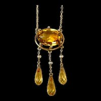 Simply Striking Citrine and Pearl Dropper Necklace