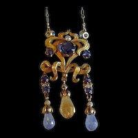 Extravagant Art Nouveau Sapphire and Diamond Necklace c. 1890