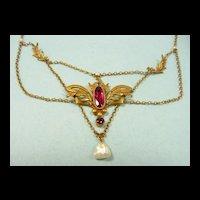 Artistic Art Nouveau Festoon Necklace Tourmaline Pearls c. 1900