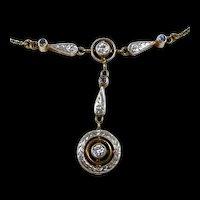 Charming Edwardian Bullseye Diamond and Sapphire Necklace c. 1910