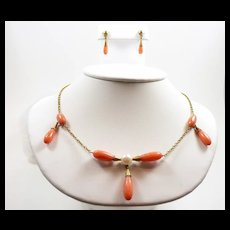Poetic Arts and Crafts Handmade Coral Pearl Demi-Parure c. 1900