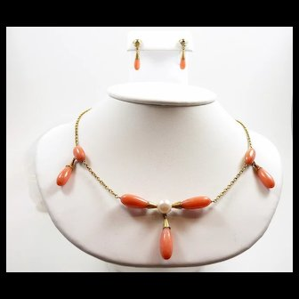 Poetic Arts and Crafts Handmade Coral and Pearl Demi-Parure c. 1900