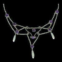 Artistic Nouveau Festoon Necklace with Amethysts and Natural River Pearls c. 1900