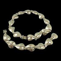 Incredible 1950's Handmade Taxco Sterling Necklace & Bracelet Set
