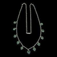Green with Envy Romantic Victorian Tourmaline Heart Necklace c. 1870