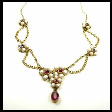 Harmonious Honeymoon Festoon Necklace Rubies Sapphires Natural Pearls c. 1860
