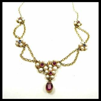Harmonious Honeymoon Festoon Necklace Rubies Sapphires Natural Pearls c. 1860