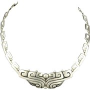 Historic Margot de Taxco Pre-Columbian design Sterling Necklace #5243 c. 1950