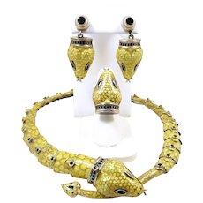Slithery Snake Margot de Taxco Sterling and Enamel Demi-Parure #5544 c. 1955