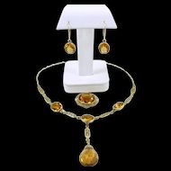 Captivating Citrine and Gold Edwardian Demi-Parure c. 1910
