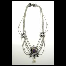 Glamorous Austro-Hungarian Silver, Gold, Amethyst and Pearl Festoon Necklace