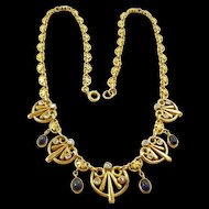 Phenomenal French Egyptian Revival Art Nouveau Necklace c. 1890