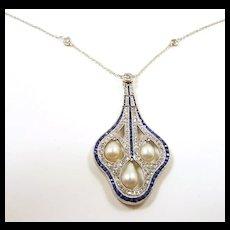 Astounding Edwardian Diamond Sapphire Pearl Necklace c. 1910